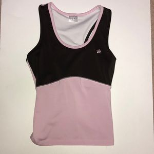 So Sporty Pink and Brown contrast athletic tank S